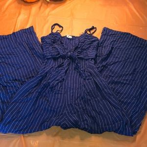 Blue/white pin striped jumpsuit